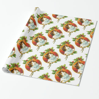 Vintage Fancy Cat with Holly Berry  Christmas Wrapping Paper