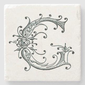 Vintage Fancy Monogram 'G' Stone Coaster