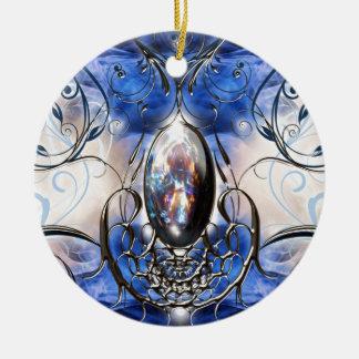 Vintage fancy ornate blue glass designer art ceramic ornament