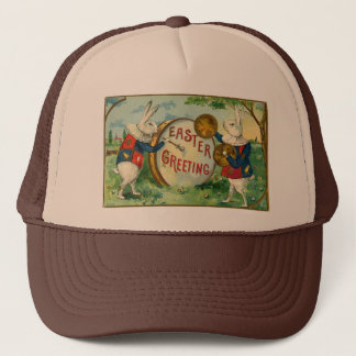 Vintage Fancy White Bunnies Easter Greeting Trucker Hat