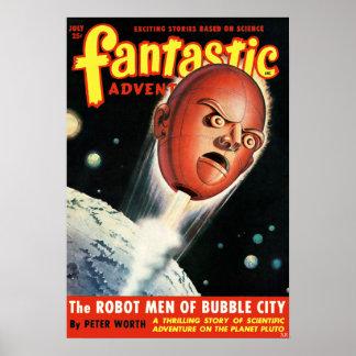 Vintage Fantastic Adventures Robot Science Fiction Poster