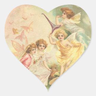 Vintage Fantasy Faeries Heart Sticker