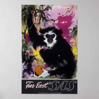 Vintage Far East Gibbon Monkey Travel Poster