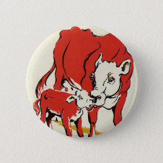 Vintage Farm Animals, Mama Cow with Her Baby Calf 2 Inch Round Button