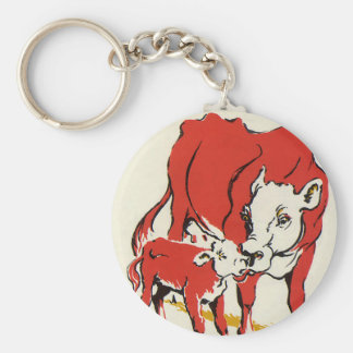 Vintage Farm Animals, Mama Cow with Her Baby Calf Basic Round Button Keychain