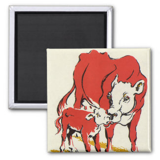 Vintage Farm Animals, Mama Cow with Her Baby Calf Square Magnet