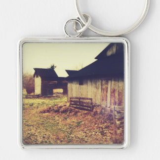 Vintage Farm Barns Silver-Colored Square Keychain