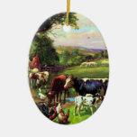 Vintage Farm Ceramic Oval Ornament