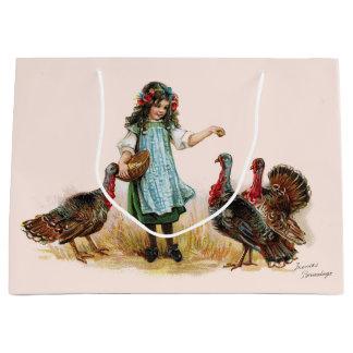 Vintage Farm Girl & Turkeys Gift Bag