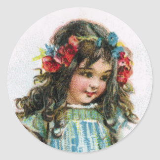 Vintage Farm Girl Wearing Flowers Sticker