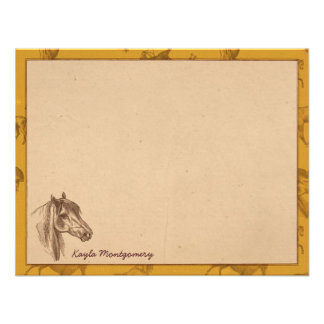 Vintage Farm Horse Personalized Flat Note Cards