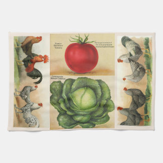 Vintage farm illustrations: cozy country style kitchen towel