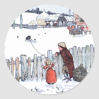 Vintage Farm Kids Classic Round Sticker