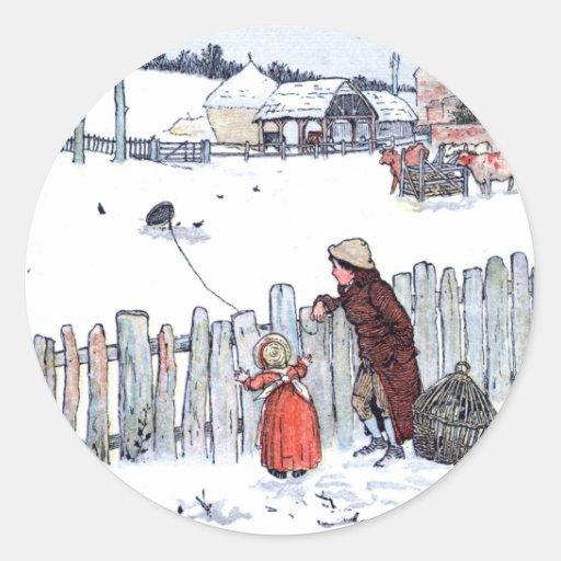 Vintage Farm Kids Round Sticker