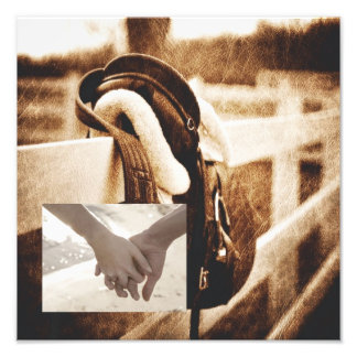 vintage farm saddle western country wedding photographic print