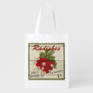 Vintage Farm Stand sign, radishes, grocery bag