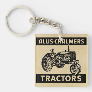 Vintage Farm Tractor Double-Sided Square Acrylic Keychain