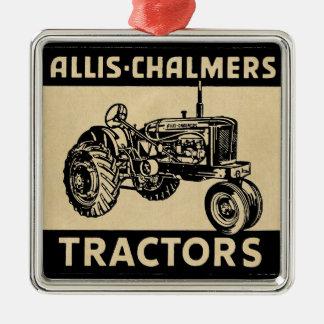 Vintage Farm Tractor Silver-Colored Square Ornament