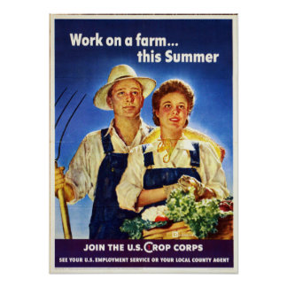 Vintage Farm Work US Crop Corps WW2 Poster