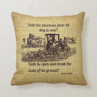 Vintage Farmer Pillow Bible Verse