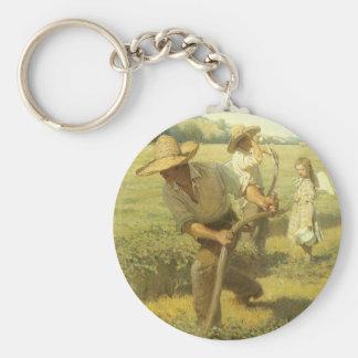 Vintage Farmers, Back to the Farm by NC Wyeth Basic Round Button Keychain