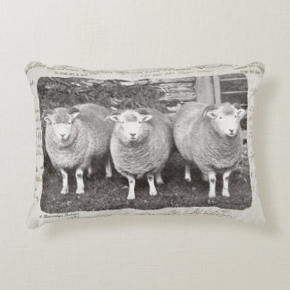 Vintage farmhouse sheep pillow in creams & greys.