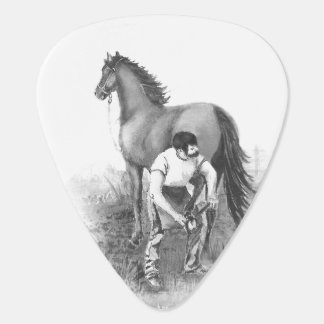 Vintage Farrier Horse Shoeing Black White Art Guitar Pick