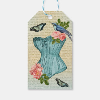 Vintage fashion bird, flower & butterfly gift tag