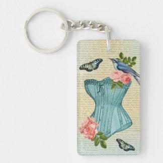 Vintage fashion bird flower & butterfly keychain
