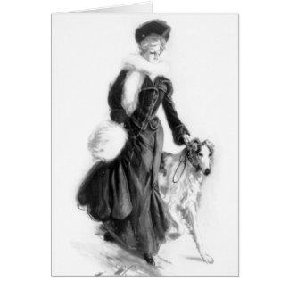 Vintage Fashion Borzoi Art Card