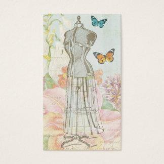 Vintage Fashion Designer Dress Form Antique Floral Business Card