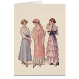 Vintage Fashion Note Greeting Card