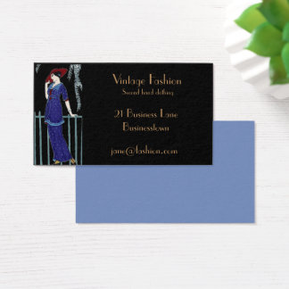 Vintage fashion second hand clothing store business card