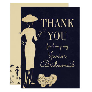 Vintage Fashion Thank You Junior Bridesmaid Card