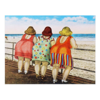 Vintage Fat Bottomed Girls at Beach Postcard