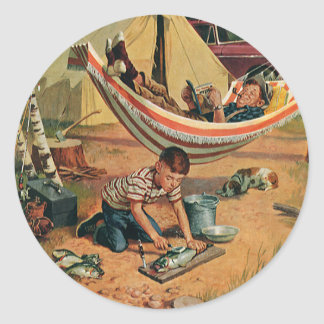 Vintage Father and Son Camping, Happy Father's Day Classic Round Sticker