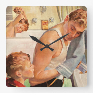 Vintage Father and Sons Getting Clean Bathroom Square Wall Clock