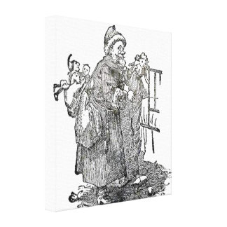 Vintage Father Christmas Illustration Stretched Canvas Print