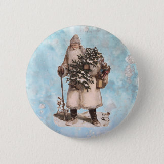Vintage Father Christmas Santa Silver Snow Falling 2 Inch Round Button