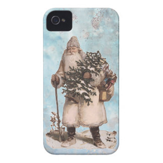 Vintage Father Christmas Santa Silver Snow Falling iPhone 4 Case-Mate Case