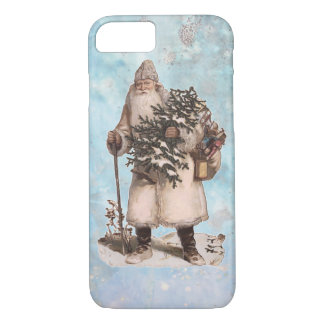 Vintage Father Christmas Santa Silver Snow Falling iPhone 8/7 Case