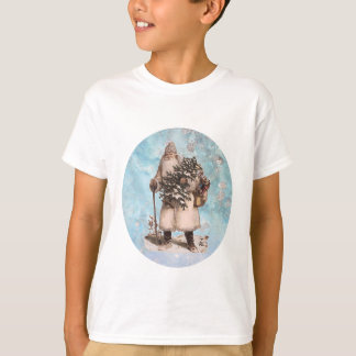 Vintage Father Christmas Santa Silver Snow Falling T-Shirt