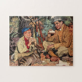 Vintage Father Son Hunting Sportsman Jigsaw Puzzle