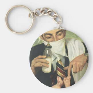 Vintage Father's Day with Dad Changing Diapers! Basic Round Button Keychain