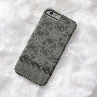 Vintage Faux Burlap and Lace Barely There iPhone 6 Case