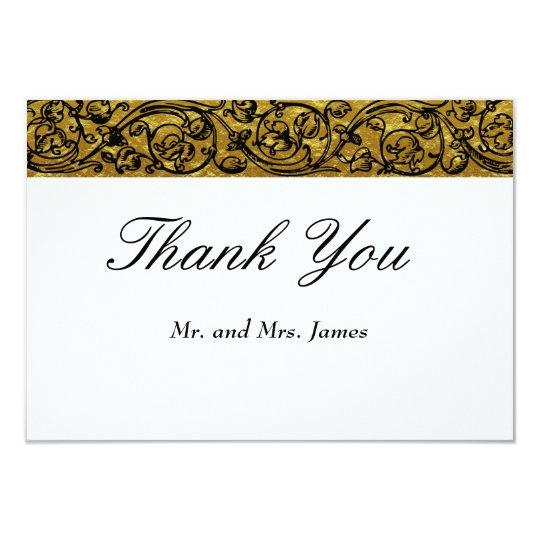 Vintage Faux Gold, Black & White Wedding Thank You Card