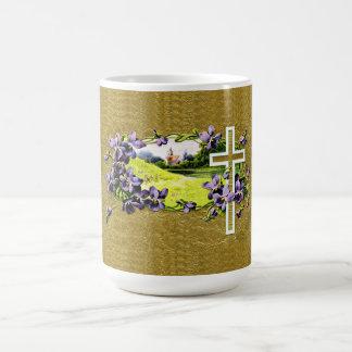 Vintage Faux Gold Leaf Christian Easter Cross Coffee Mug