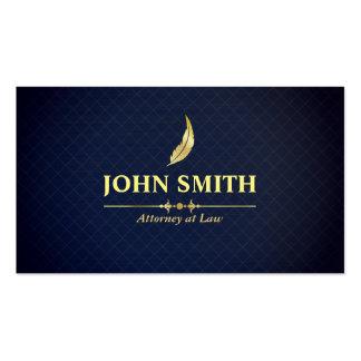 Vintage Faux Gold Plumage Dark Blue Grid Lawyer Business Card