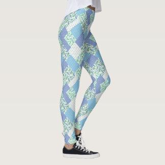 Vintage Faux Patchwork Blue Green Snowdrop Pattern Leggings