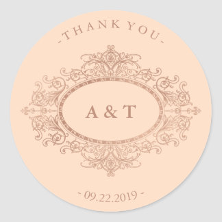 Vintage Faux Rose Gold on Blush Pink Monograms Classic Round Sticker